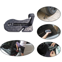 Universal Car Door Step Pedal Foldable Auto Rooftop Luggage Ladder Hooked Foot Pegs Doorstep Safety Hammer Door Step