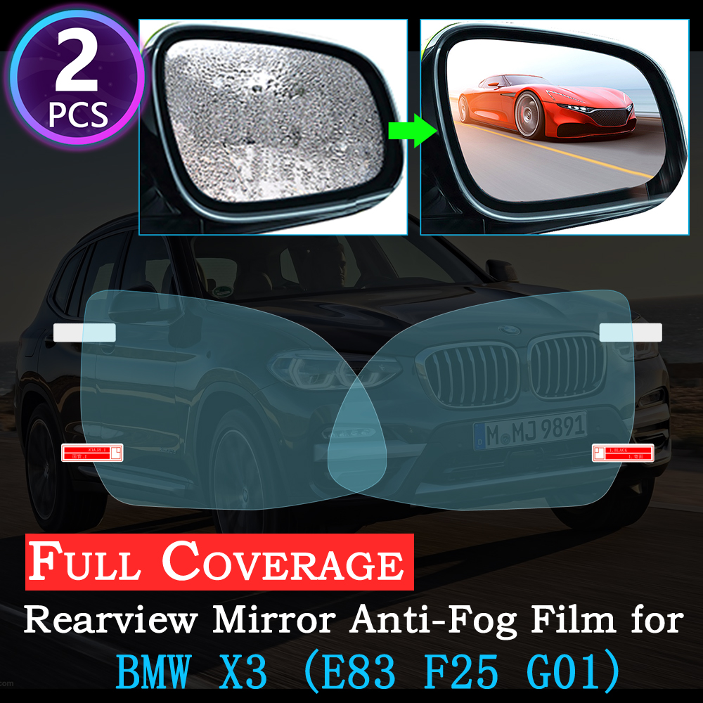 For BMW X3 E83 F25 G01 2004~2020 Full Cover Anti Fog Film Special Rearview Mirror Rainproof Accessories Car Stickers 2018 2019