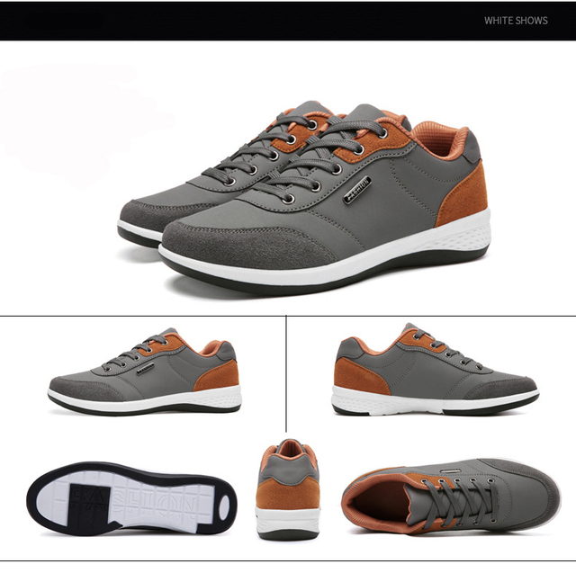 Men Casual Sneakers PU Leather Running Shoes Fashion Lace Up Business Casual Shoes Male Outdoor Walking Jogging Sports Shoes 5