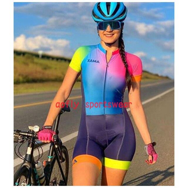 Xama roupas de manga curta das mulheres ciclismo triathlon terno roupas ciclismo conjunto skinsuit maillot ropa ciclismo macacão conjunto feminino ciclismo macacao ciclismo macacão ciclismo feminino kafitt 1