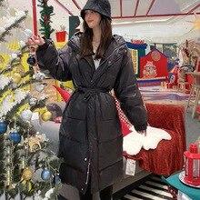 Women 2021 New Casual Waist Hooded Bread Jacket Sweet Korean Simple Belt Long Knee-length Straight Down Jacket Women Streetwear