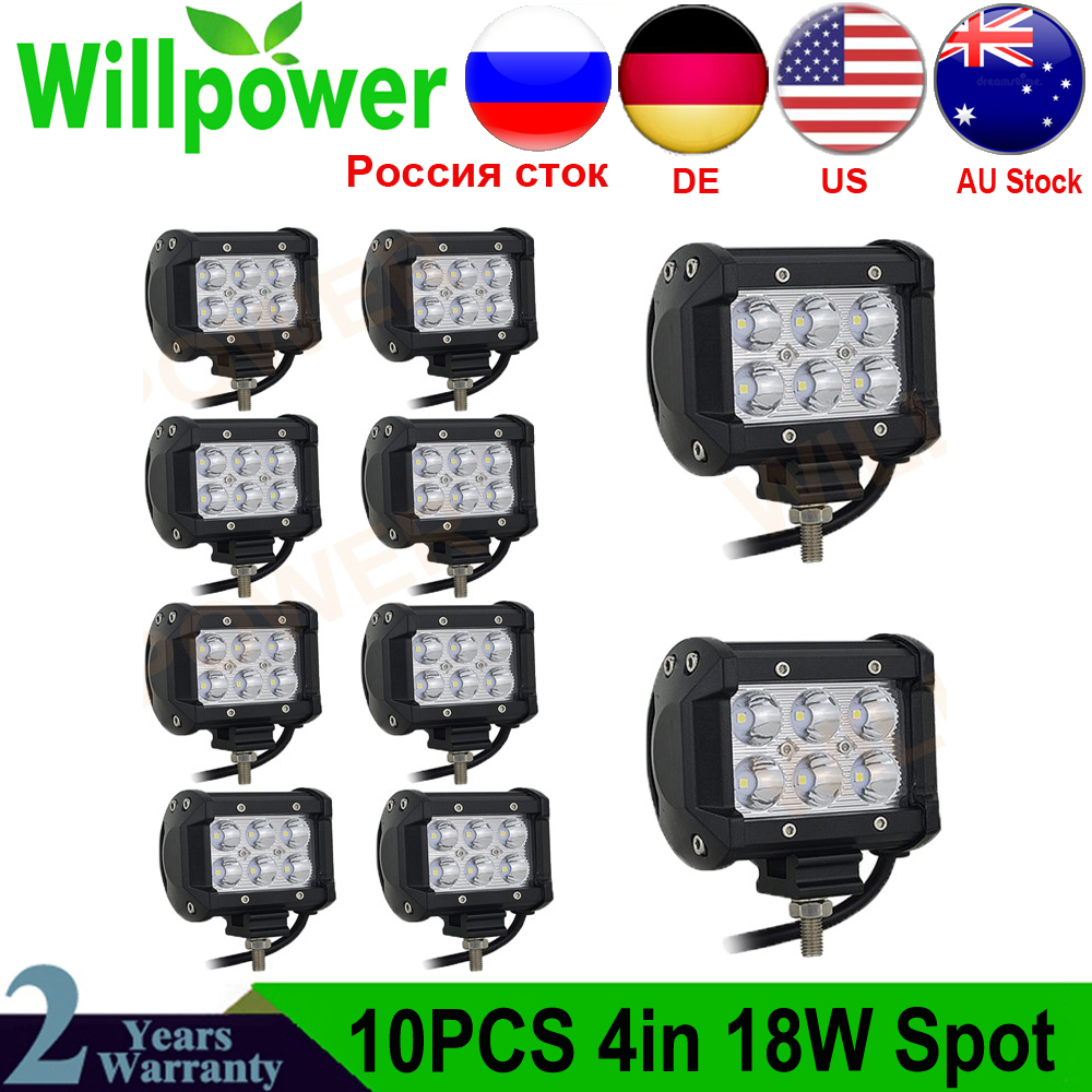 2pcs/10pcs 18W LED Driving Light 18W Spot Flood 12V 24V 4 Inch LED Work Light Bar 4x4 LED Bar Offroad Car LED Bulb For Niva 4x4