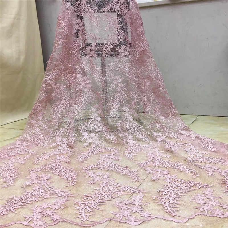 Bleu ciel africain dentelle tissu or haute qualité français Net broderie Tulle dentelle nigérian paillettes tissu pour robe de soirée de mariage