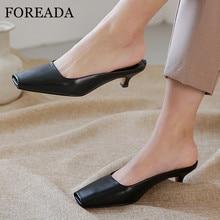 FOREADA Woman Mules Shoes Natural Genuine Leather High Heels Dress Block Pumps Square Toe Med Heel Female Footwear
