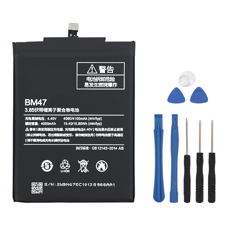 Original BM47 Replacement Battery For <font><b>Xiaomi</b></font> <font><b>Redmi</b></font> <font><b>3</b></font> 3S 3X <font><b>4X</b></font> Redmi3 Pro Redrice Authentic Phone Batteries 4100mAh image