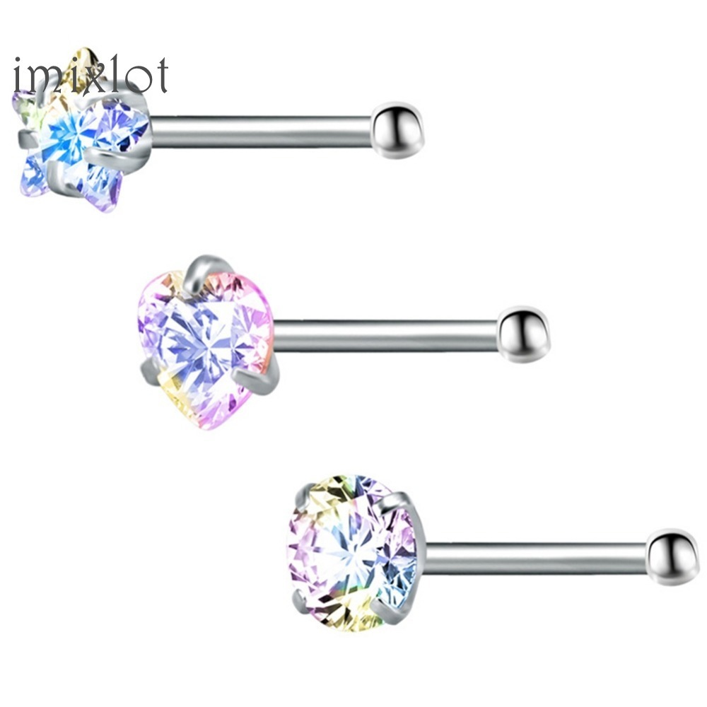 3 Pcslot Star Rhinestone Nose Studs Bar 316 Stainless Steel Nose Piercing Pin Earrings Crystal Nariz Nose Rings Fashion Jewelry