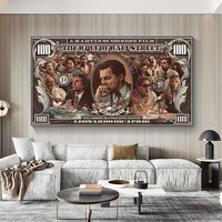 Grafiti de arte callejero, pintura en lienzo de 100 dólares, carteles e impresiones de lobo de pared, arte Pop callejero para decoración para sala de estar