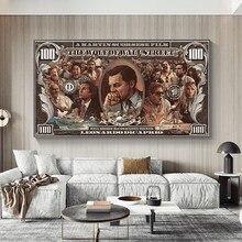 Graffiti rua dinheiro arte 100 dólar pintura em tela cartazes e cópias lobo da parede rua pop arte para sala de estar decoração