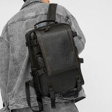 2020 nowy plecak skórzany tornister dla mężczyzn studenci wypoczynek na świeżym powietrzu plecaki torby na ramię czarny tanie tanio TILORRAINE CN (pochodzenie) Miękka Wnętrze slot kieszeń Kieszeń na telefon komórkowy Wewnętrzna kieszeń Komputer pośrednia