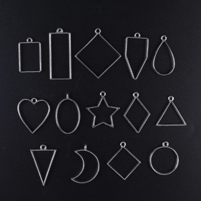 14Pcs Geometric Shape Metal Frame Set DIY Epoxy Resin Mold UV Crystal Silicone Mold For Resin Jewelry Tools Pendant Making
