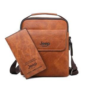 Image 5 - Jeep buluo marca de alta qualidade saco do mensageiro do homem casual split couro crossbody sacos para homens tote sacos ombro 2019 novo