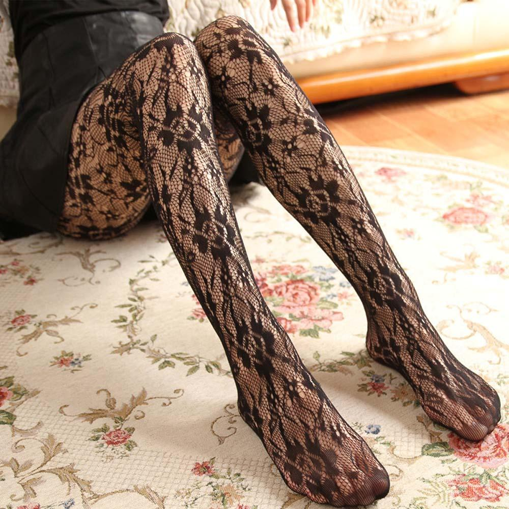 1PC Female Hosiery Sexy Women Tights Rose Flower Lace Mesh Tights Hollow Out Pantyhose Stockings Net Stocking Girls Clothing image