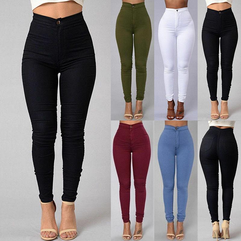 5 Colors Women Pencil Jeans Denim Skinny Leggings Pants High Waist Stretch Jeans Rose Pencil Trousers Plus Size S-3XL