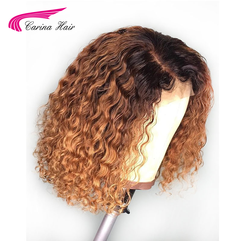 Image 2 - Carina Ombre Color Lace Front Human Hair Wigs 13*3 Lace Brazilian Curly Remy Hair Pre Plucked-in Lace Front Wigs from Hair Extensions & Wigs