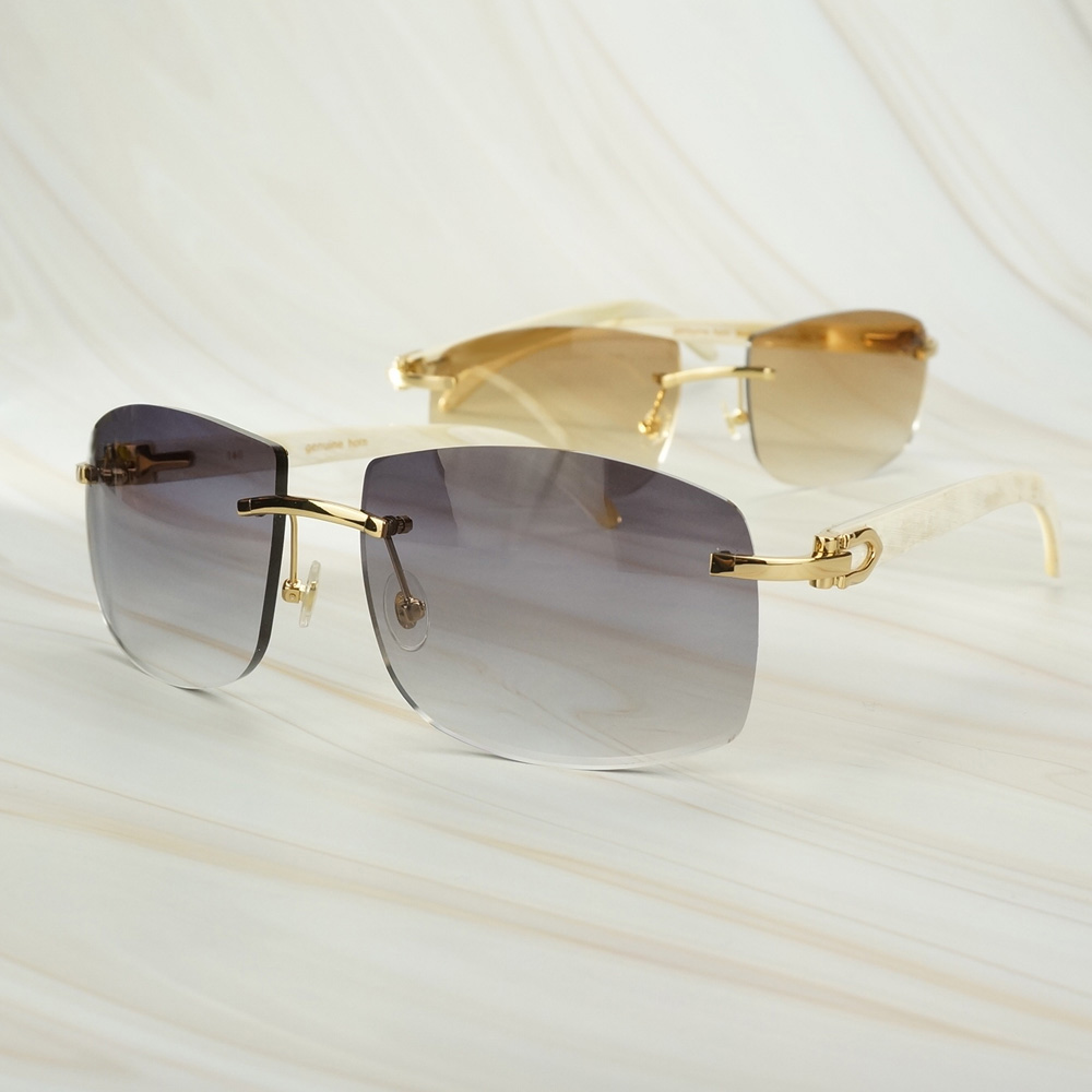 Vintage White Buffalo Horn Glasses Frame for Men Big Sunglasses for Male Carter Decoration Oversized Sun Glasses Fro Women