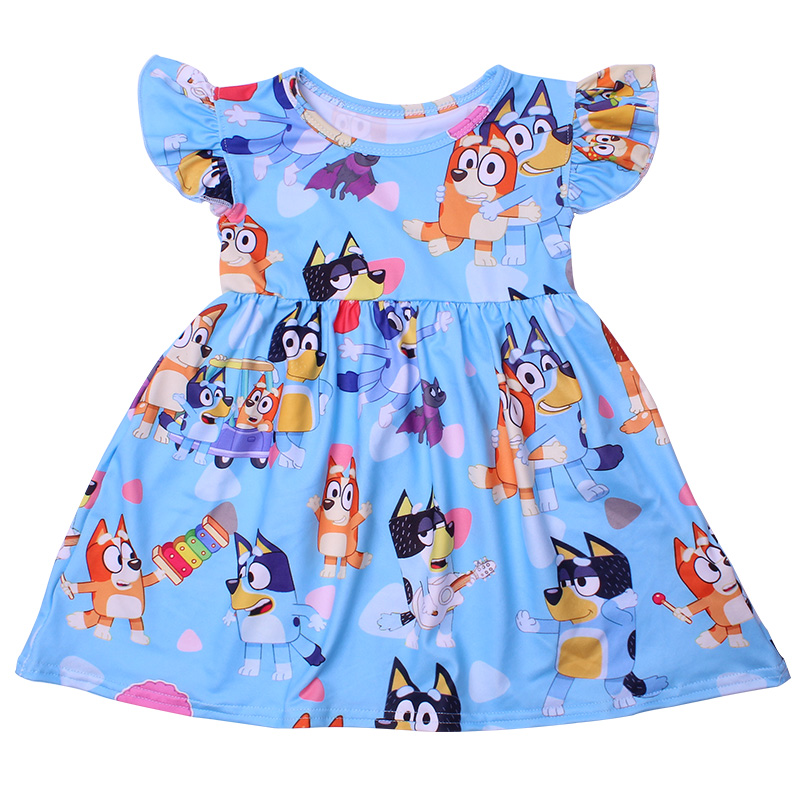 New Fashion Girls Dress Puffy Sleeve Kids Cartoon Clothing Soft Milksilk Children Birthday Party Dress Wholesales 12M to 7T 3