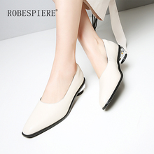 ROBESPIERE Brand Women Pumps Genuine Leather Strange Heels Shallow Dress Shoes Pop Square Toe Slip On Handmade Ladies Pumps A123 цена 2017