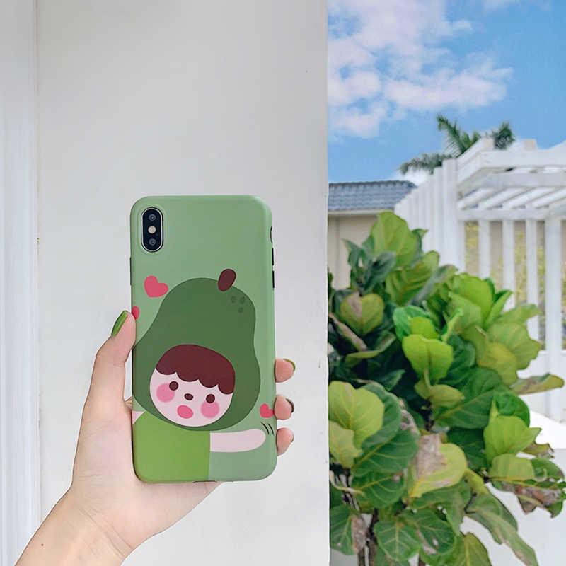 かわいいイチゴの少女梨少年漫画携帯電話のシェル iphone XS 最大カバー iphone XR × 6 S 7 8 肥厚新鮮なソフトシェル