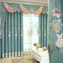 Europeu-estilo lotus cortinas para sala de estar quarto sala de jantar luxo villa cortinas de hóspedes bordadas belas cortinas