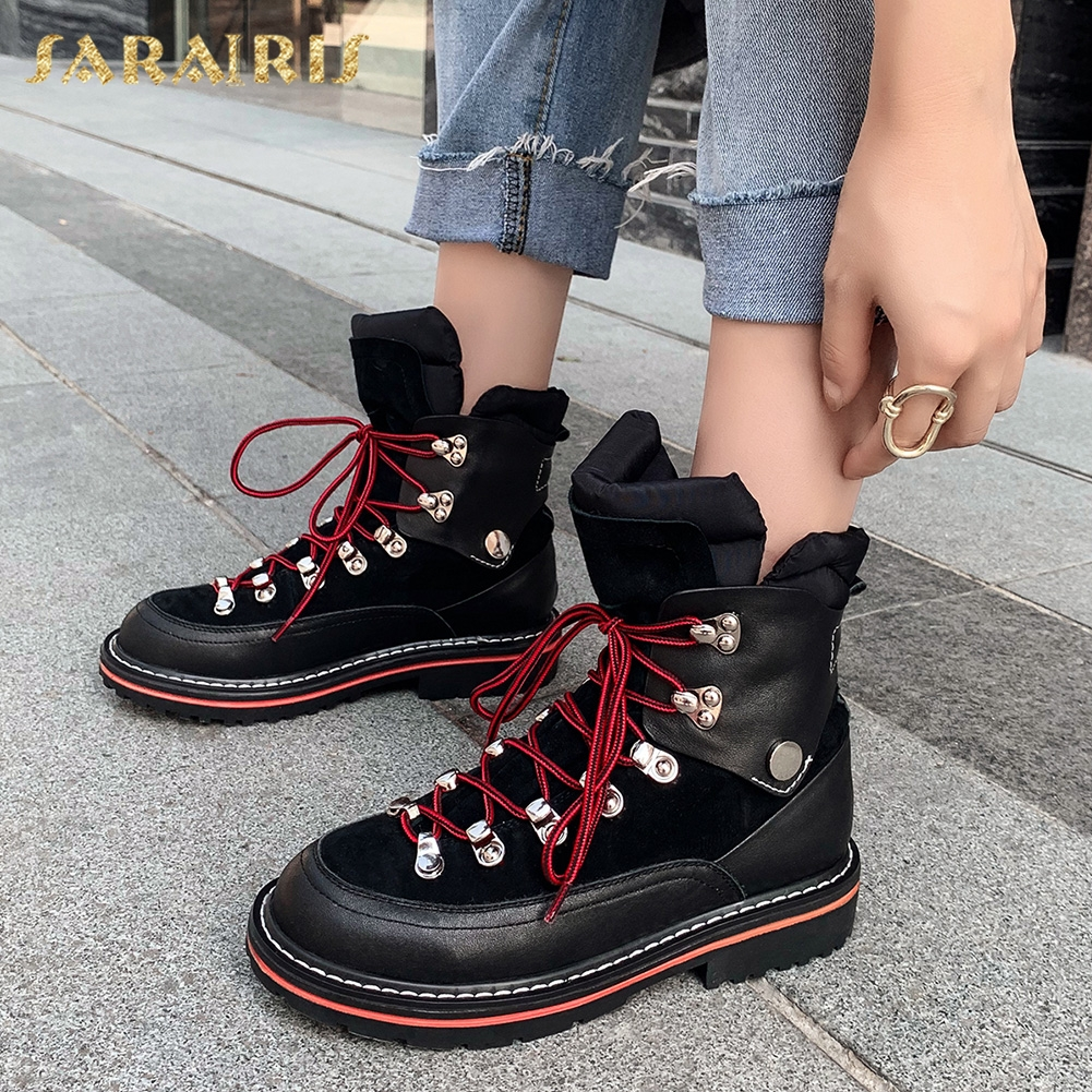 Sarairis Top Quality Genuine Cow Leather Autumn Shoes Woman Boots Female Flat Heels Shoelace Hot Sale Ankle Boots Women Shoes
