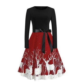 40 # femmes Robe de noël élégant Vintage Elk Robe imprimée hiver grande taille à manches longues Sexy fête balançoire Robe Vestidos 1