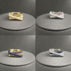 2021 S925 srebro nowe złote niebieski kolor bankiet pierścień kobiet luksusowe jesień koreański styl popularne