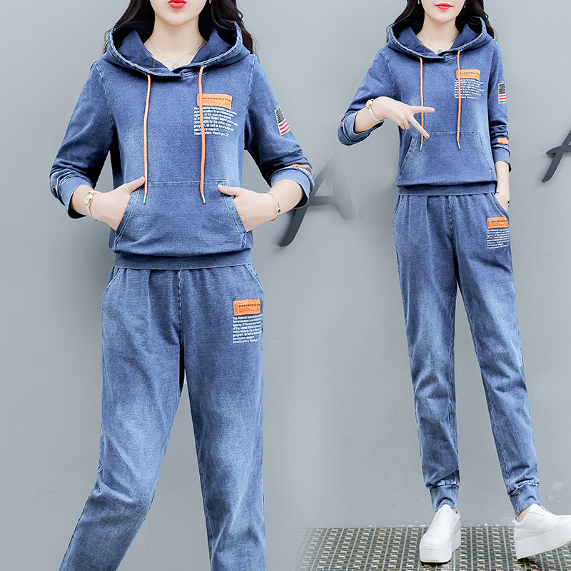Tracksuit Denim Two Piece Set Women 2019 Hoodies Pant Suits And Top Winter Autumn Outfit Clothing Matching Jeans 2 Piece Sets