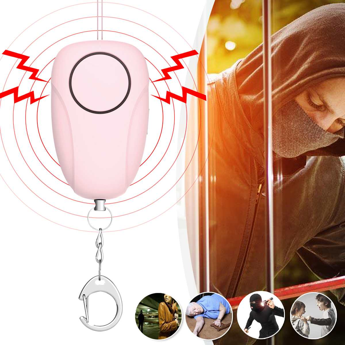 Self Defense Personal Safety Alarm Security Wolf Auto Alarm Anti Rape Whistle 120dB Sound Loud Keychain Protection