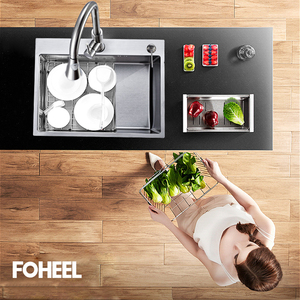 Image 2 - FOHEEL נירוסטה מטבח כיור חריץ צלחת אגן מטבח כיור ניקוז סל וניקוז Pip מלבני