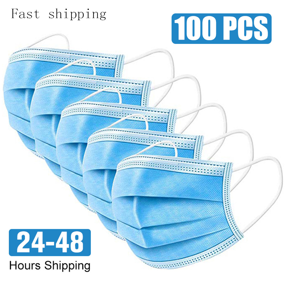 100 Pcs Anti-Dust Dustproof Disposable Mask Earloop Face Mouth Masks Facial Protective Cover Mask 3 LayersMasks