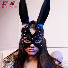 Fullyoung New Sexy Leather Bunny Mask Bdsm Fetish Cat Head Black Half Eyes Cosplay Face Adult Halloween Masquerade Party  Masks