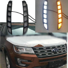 цена на Car Led Drl For Ford Explorer 2016 2017 2018 Daytime Running light Turn Drl Front Bumper Driving Fog Lamp Blink Flashing Dayligh