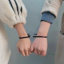Tecido preto corda artesanal pulseira feminino rosca distncia magntica jias pulseira amizade casal presente valentin