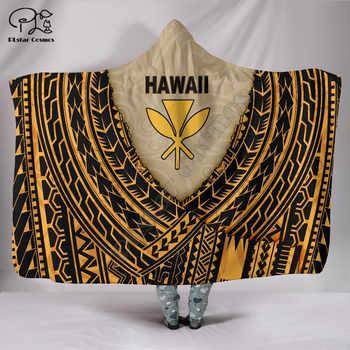 Protect Mauna Kea Polynesian Hawaii style Hooded Blanket 3D full print Wearable Blanket Adult men women Blanket