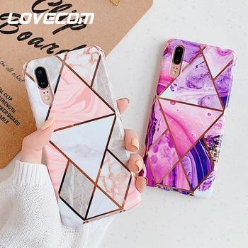 LOVECOM galvanoplastie géométrique marbre coque de téléphone pour Huawei P40 P30 P20 Mate 30 20 Pro Lite Anti-choc doux IMD couverture arrière cadeau