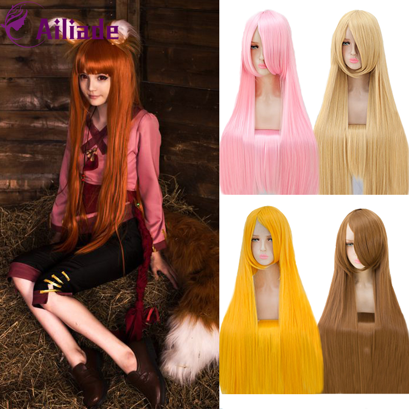 AILIADE Women 100cm Long Straight Hair Cosplay Wig Pink Purple White Brown 26 Color Heat Resistant Synthetic Wigs Party