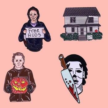 Эмалированная брошь Майкл Майерз на Хеллоуин, булавка, значок, отворот, булавки, сплав, металл, модные ювелирные изделия, аксессуары, подарки