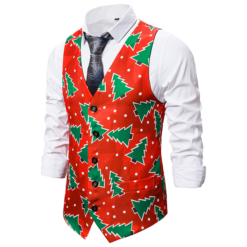 Christmas Tree Print Vest Men 2019 Autumn New Christmas Waistcoat Men Xmas Party Wedding Tuxedo Vests Waist Coat For Men Gilet