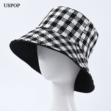 USPOP 2019 New winter hats women men plaid bucket unisex double-sided black white