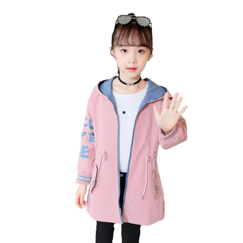 Kids Windbreaker for Baby Girls Outerwear Hooded Letters Tops Spring Autumn Solid Clothes Age 4-16Y Children Trench Coats