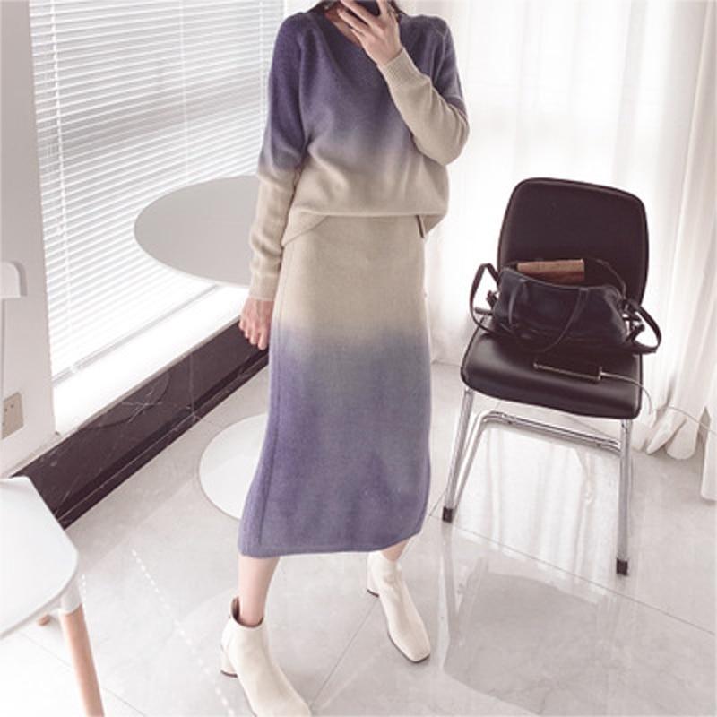 Autumn And Winter Women's Korean Rabbit Fur Blend Soft Upper And Lower Gradient Half Skirt Ladies Wool Woven Two-piece Suit