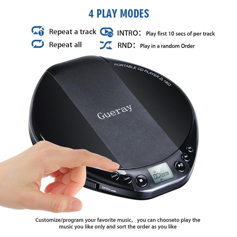 Qosea Portable CD Player Hifi with Headphones Walkman Player Shockproof Anti-Skip Personal LCD Display Luxuxy Music Disc Player 6