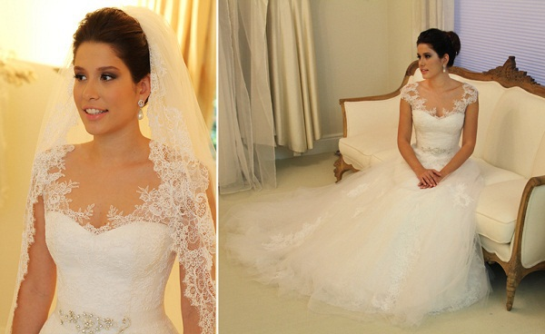 V Neck Cap Sleeves Lace And Tulle Wedding Dress Ball Gown Long Plus Size Bridal Gowns 2015 Romantic Vestidos De Novia HL603