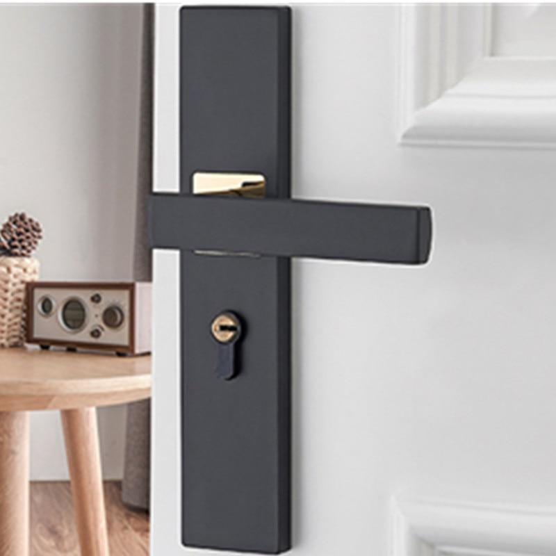 Aluminum Alloy Door Locks Continental Bedroom Minimalist Interior Door Handle Lock Cylinder Security Mute Door Lock Household