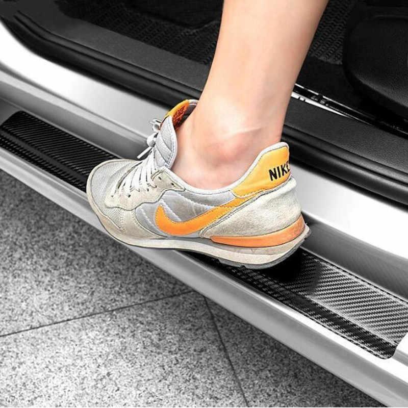 4 Pcs 3D Serat Karbon Mobil Pintu Sill Protector Stiker untuk Chevrolet Cruze TRAX Aveo Lova Berlayar Epica Captiva Volt camaro Cobalt