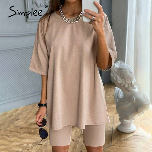 Simplee Casual Solid Outfits Women's Two Piece Suit with Belt Home Loose Sports Tracksuits Fashion Bicycle Summer Hot Suit 2020 2