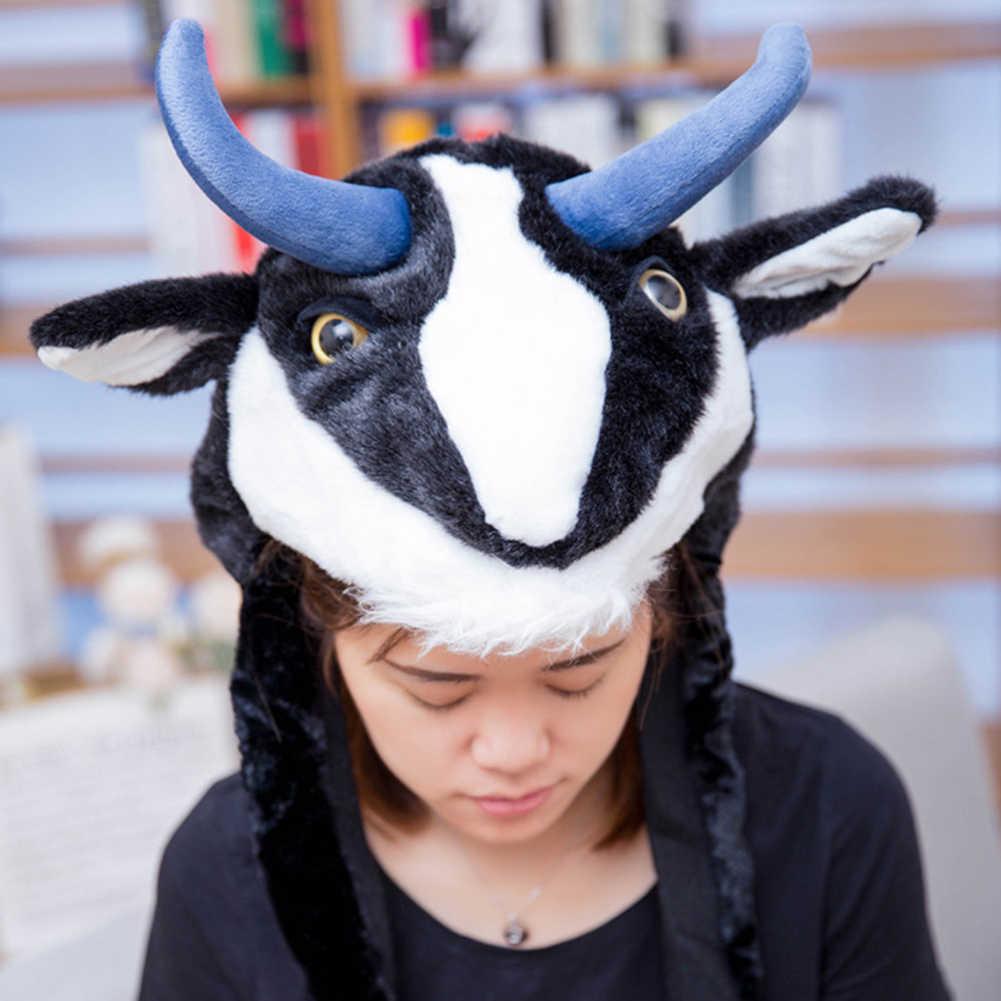 Komik kış peluş antilop Yak kap cadılar bayramı noel şapkalar giyinmek Cosplay çocuklar için eğitici oyuncaklar çocuk hediye
