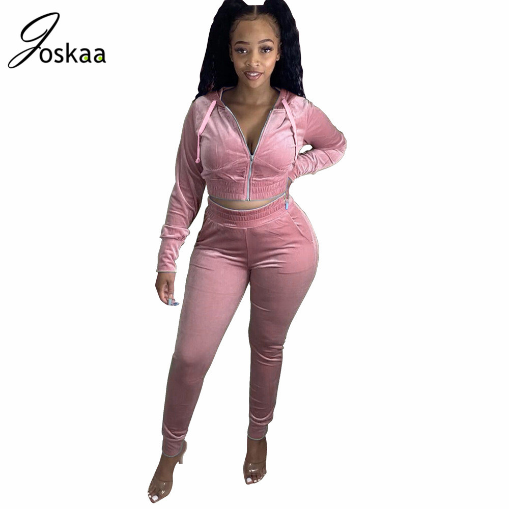 Joskaa fall and Winter new hooded zipper solid Suede velvet Casual sexy tracksuit crop tops leggings jogger pants two-piece set 1