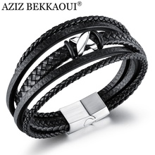Bracelet Engrave Customized Jewelry Name Woven Stainless-Steel Multi-Layer Men's AZIZ