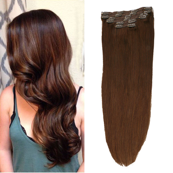 Toysww 6Pcs/Set Clip in Hair Extensions Human Hair Remy Hair Medium Brown Color #4 No Tangle Brazilian Hair 100g 120g sindra indian straight remy hair clip in human hair extensions blonde color 60 full sets 6pcs set 100g 120g